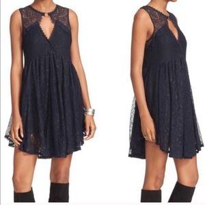 Free People   Dont You Dare Black Lace Dress XS